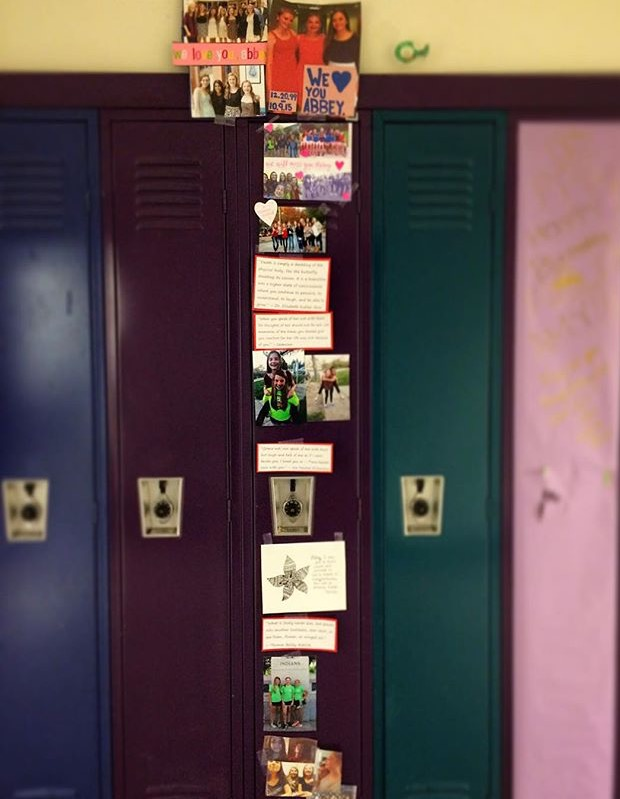 Abbey Gibbons' locker, decorated by her friends in her honor.