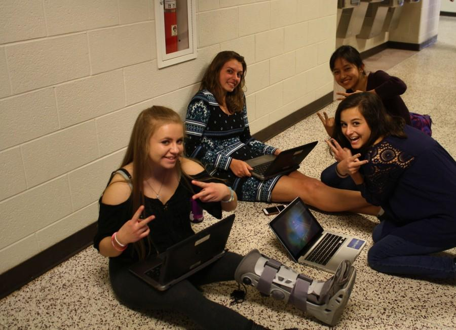 Students study in the hallway
