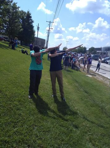 Students Dab during Fire Drill