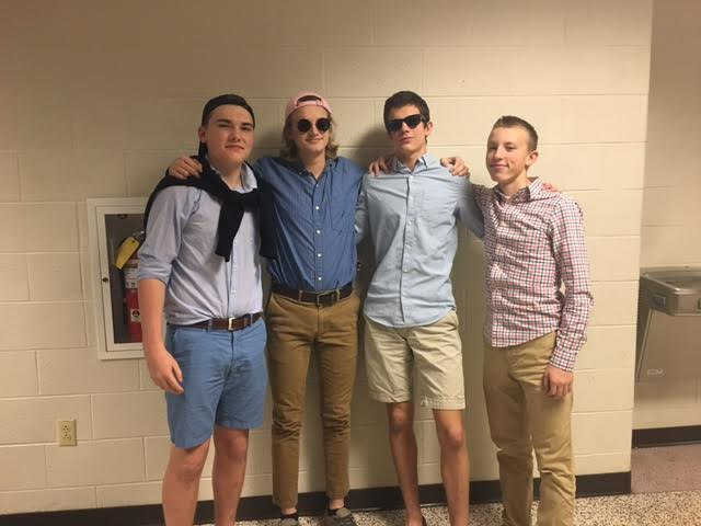 Sophomores (named left to right) Calvin Prenkert, Christopher Piekarsky, Alan Morris, and Jackson Moore went all out for prep day. Tomorrow's theme is Throwback Thursday!