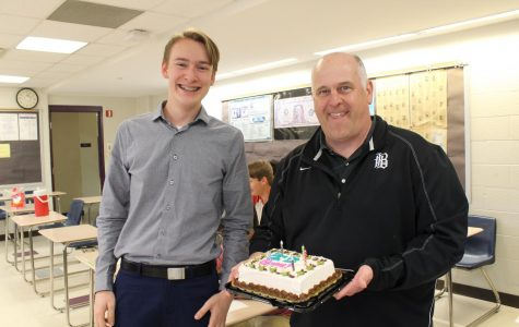 Students celebrate Kevin Gross's birthday