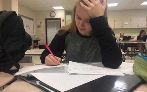 Junior Ella Need studies for her calculus AP exam