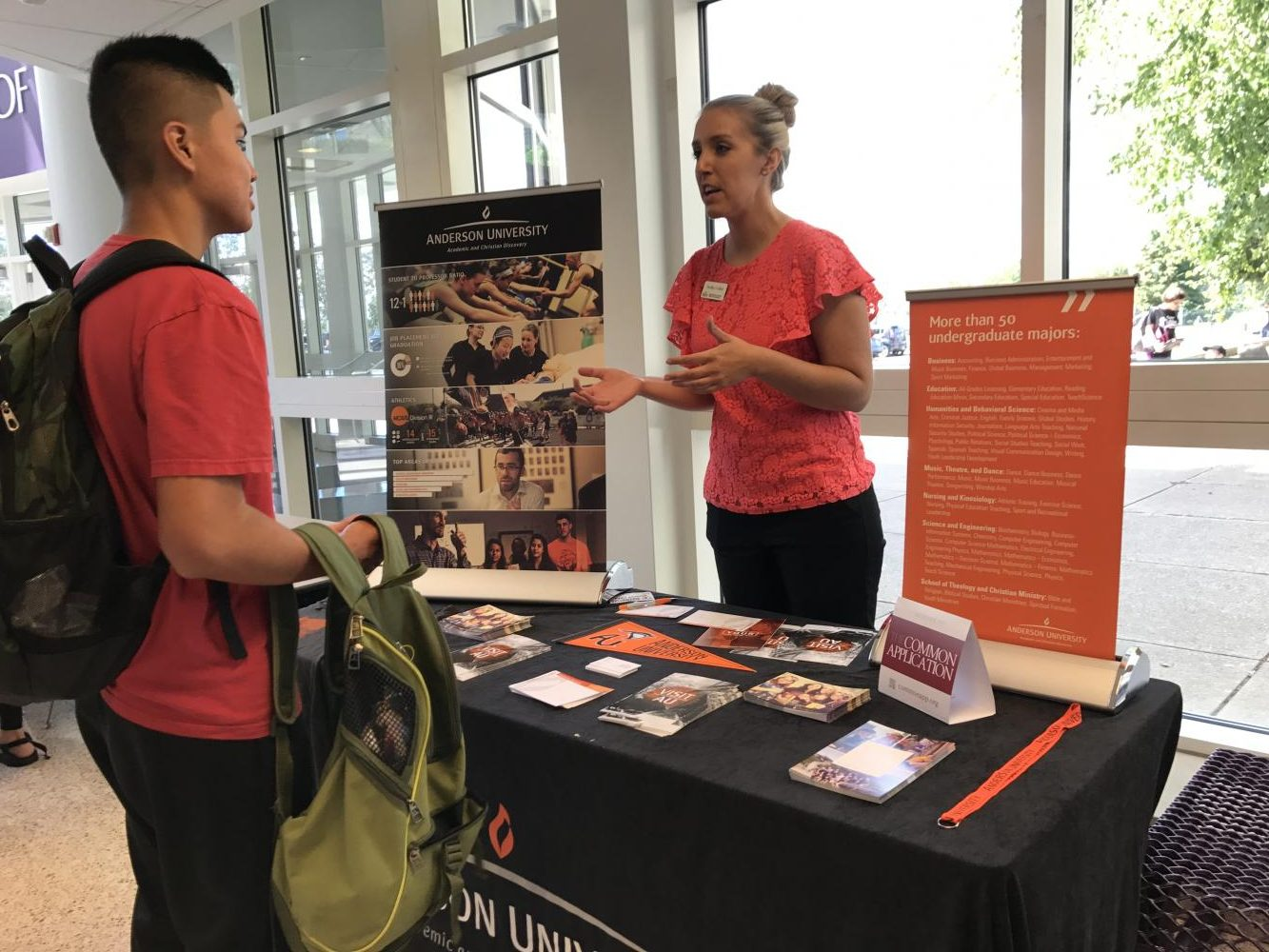 Anderson University rep shares information with interested student