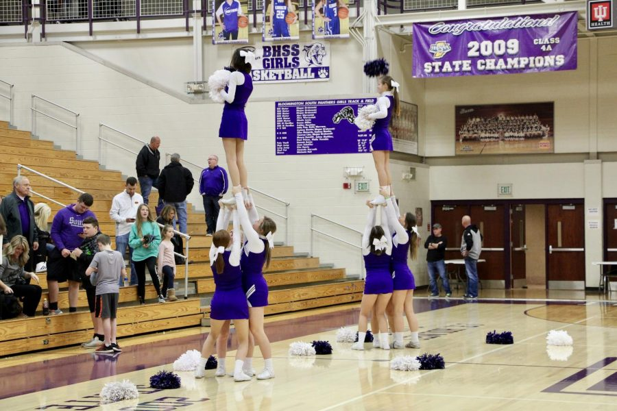 The South cheerleader preform a routine during a timeout.