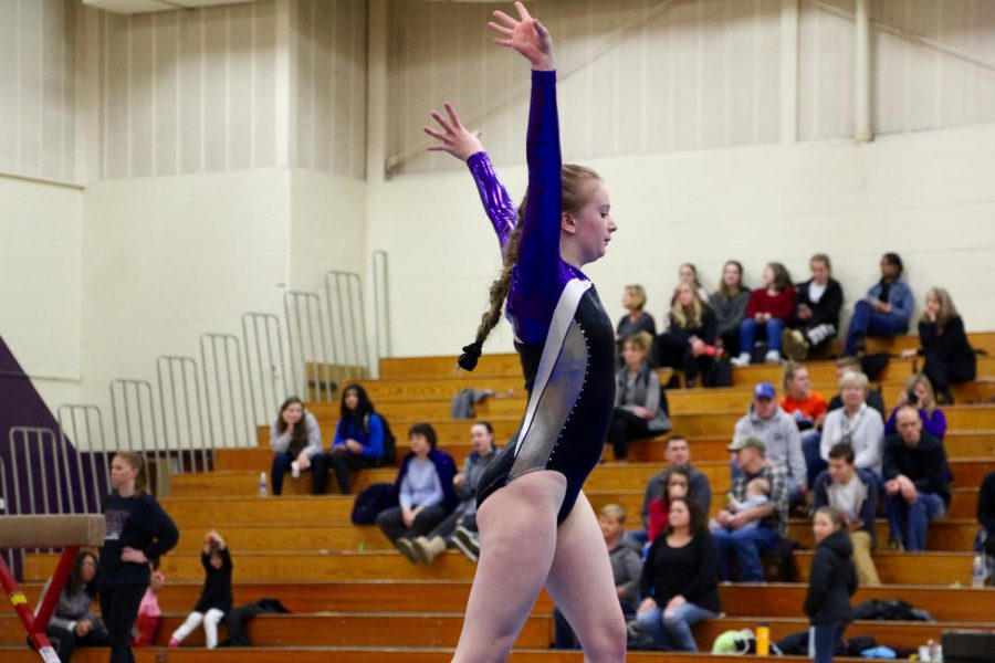 Souths Erica Huntington poses during her floor routine.