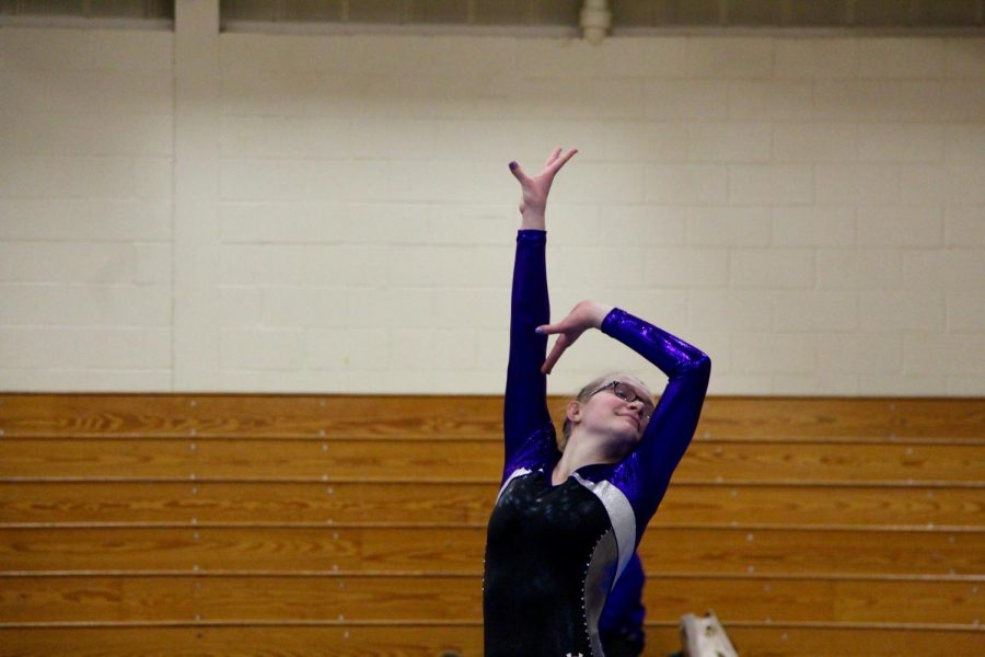 Souths McKenzie Hales poses during her floor routine.