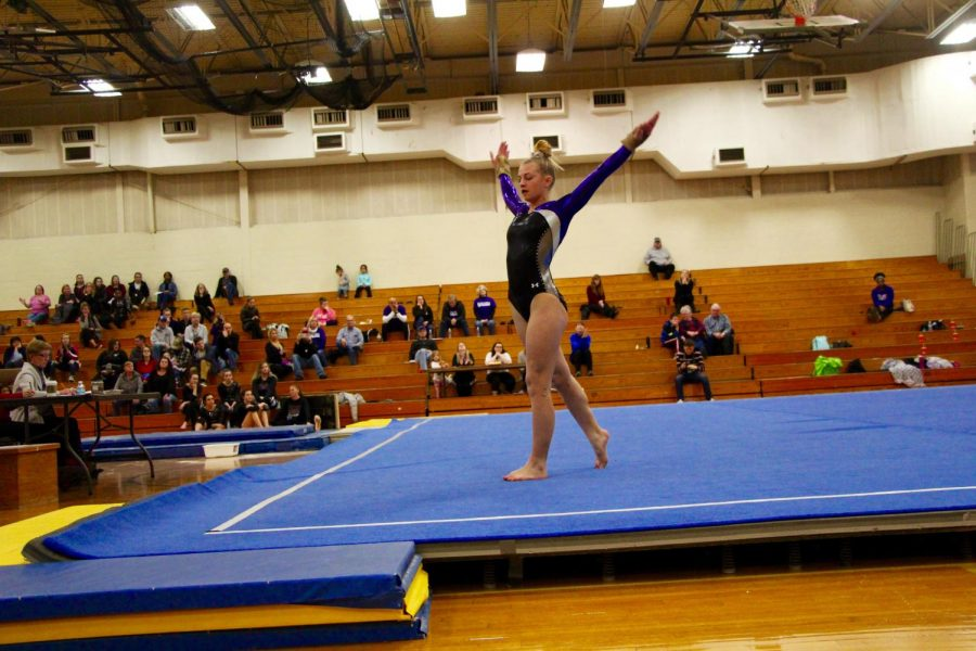 Souths Hailey Landis strikes a pose during her floor routine.