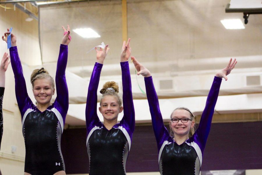 (left to right) Souths Delany Blubaugh, Hailey Landis, and McKenize Hales pose together on the podium for the vault event. (they went 1-3-5 respectively)