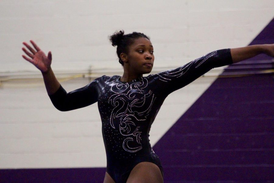Norths Brittany Laffon poses during her floor routine. Laffon was first in all-around, beam and floor.