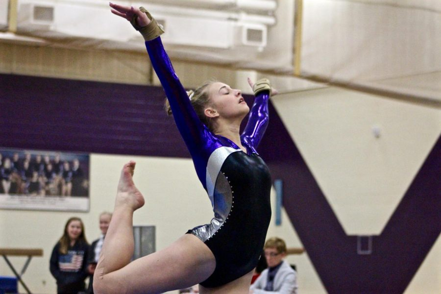 South%27s+Hailey+Landis+poses+during+her+floor+routine.+Landis+finished+second+overall+on+the+floor%2C+and+South+narrowly+lost+to+North%2C+95.4-93.7.