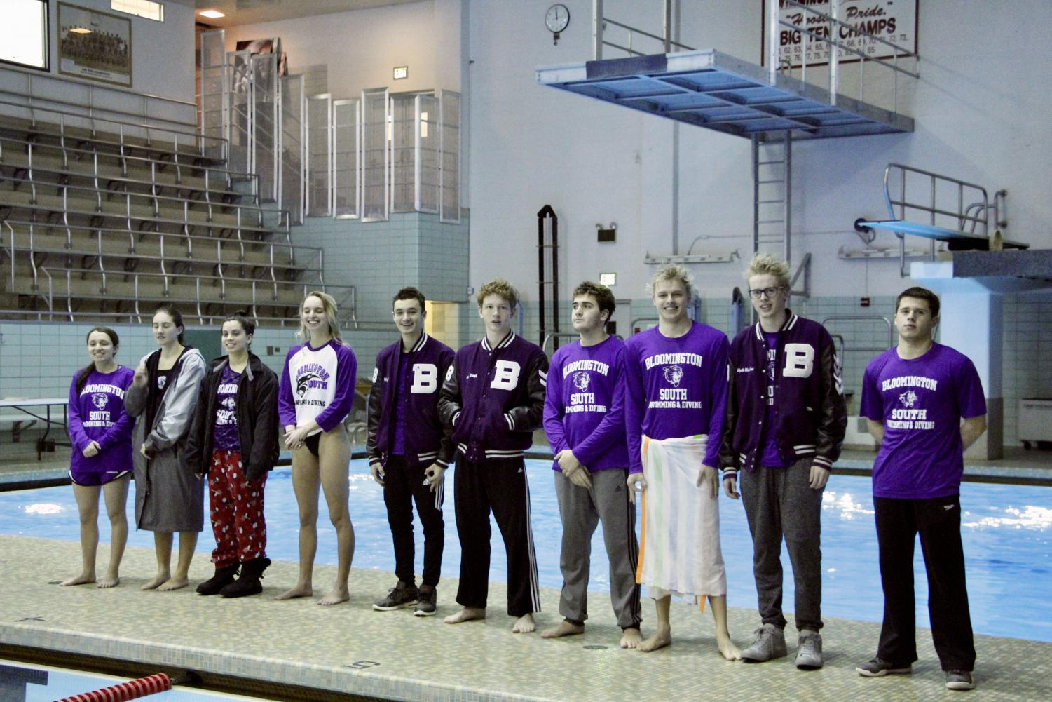 South's seniors (L-R: Caitlin Betar, Emily Long, Nicole Perry, Julia Wolf, Elijah Earle, Max Grogg, Creighton King, Luke Lobring, Wyeth Michealsen, and Wesley Webb) are honored during the meet. Both the boys and girls defeated North by large margins, and placed first in every event.