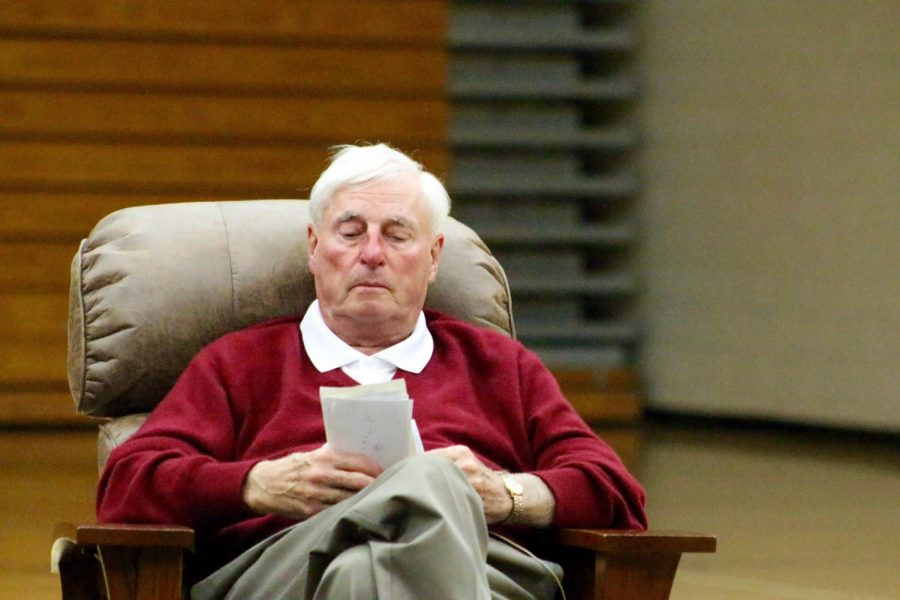 Coach Bobby Knight  talks to his fans during
