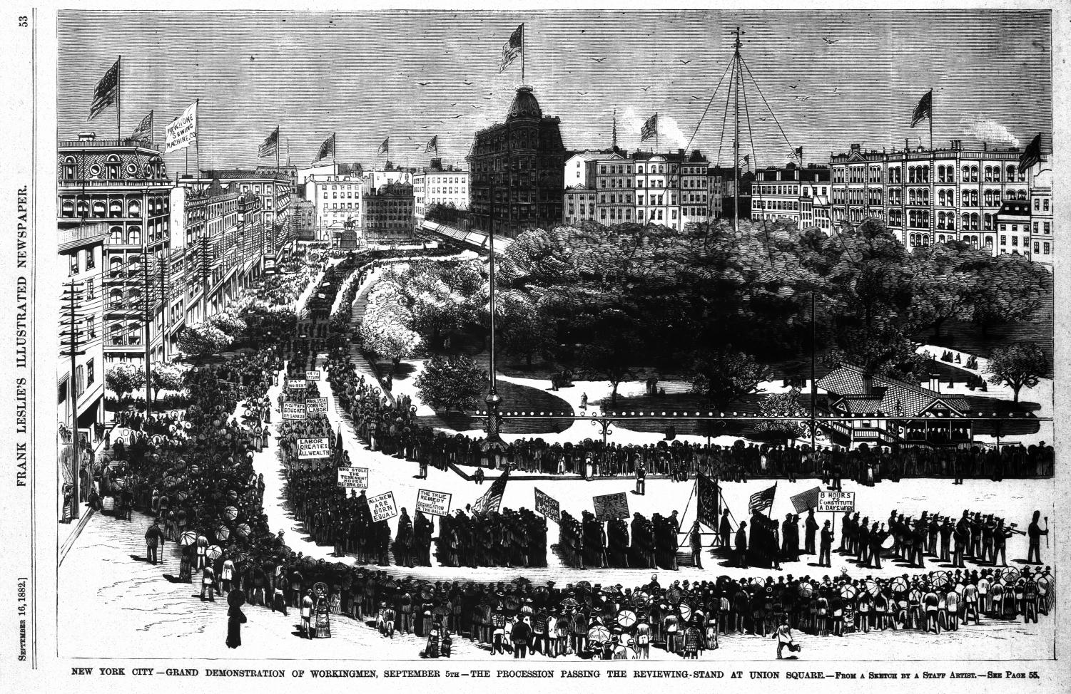 The first Labor Day parade, New York City, Sept. 5, 1882