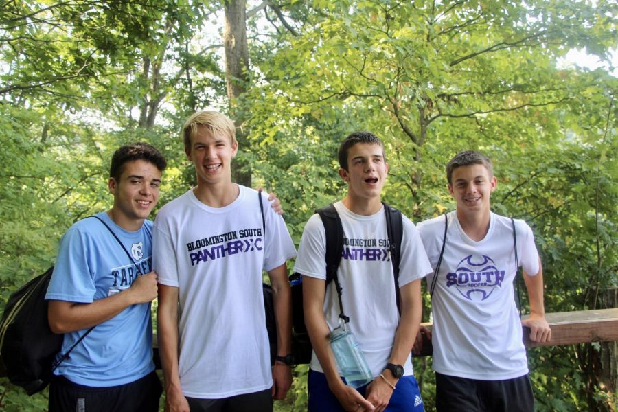 South seniors (L-R) Giovanni Alicea, Wil Zinkan, Alan Morris and Ben Pliske take a moment to relax during a hike.