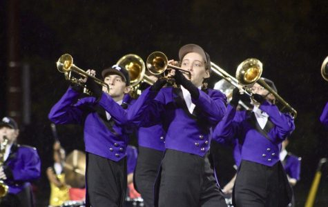 Members of the Panther Regiment perform during the halftime of the South football team's win over Terre Haute North.
