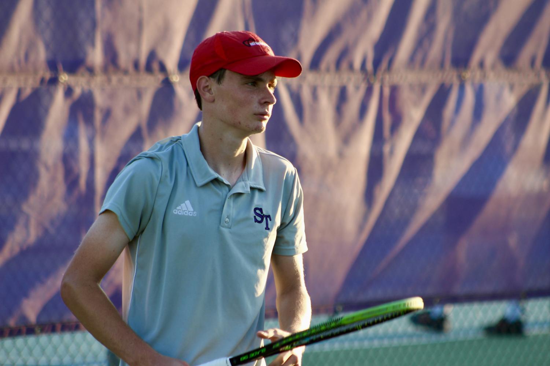 Junior Daniel Borhi, South's top singles player, awaits a serve during his 6-1, 6-0 win.