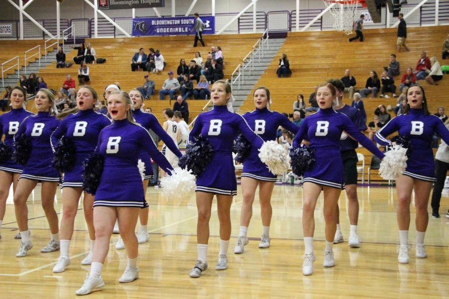 The South  varsity cheerleading squads performs at a boys basketball game last season.