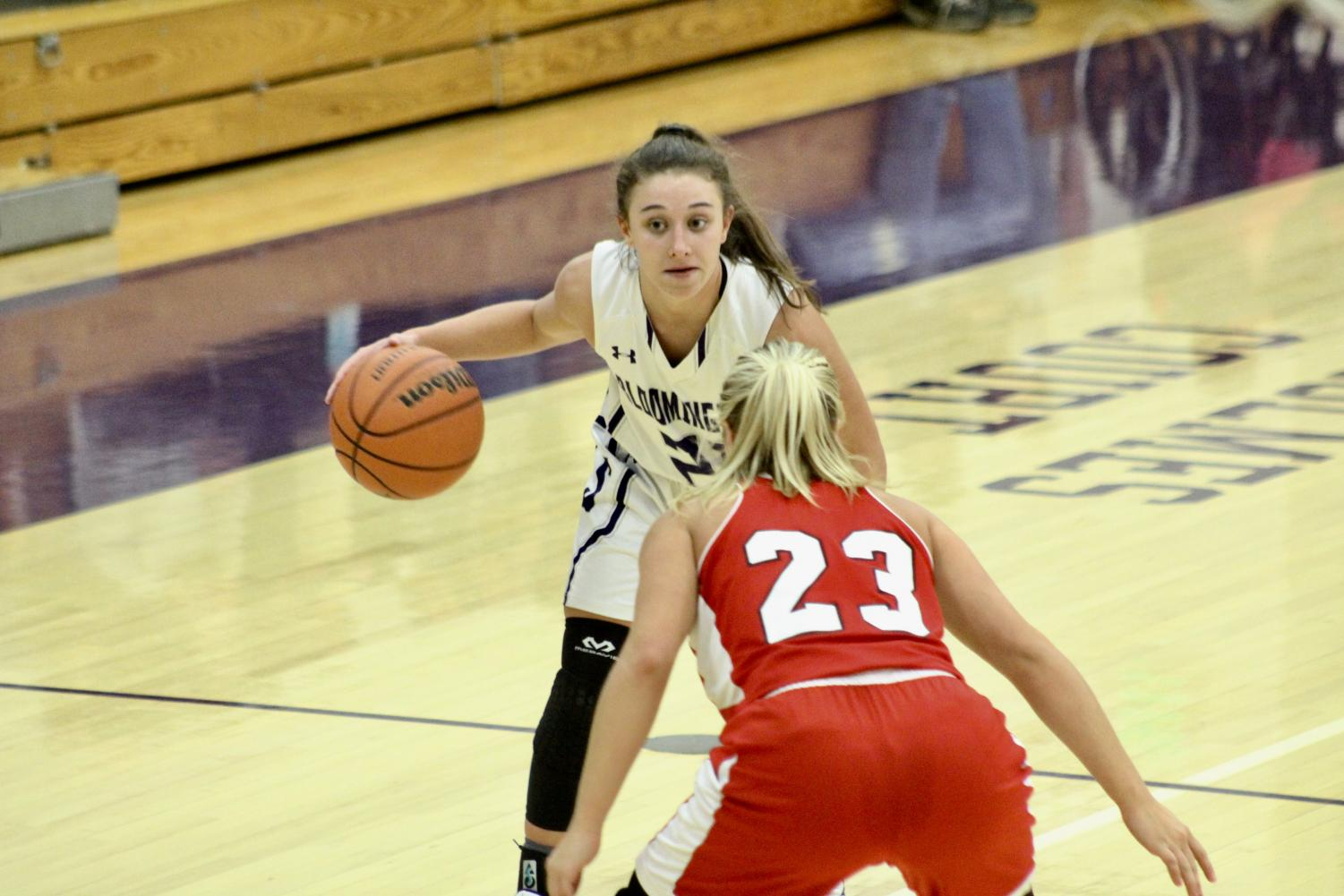 Senior guard Addy Blackwell (21) holds the ball as she sets up a play for the team