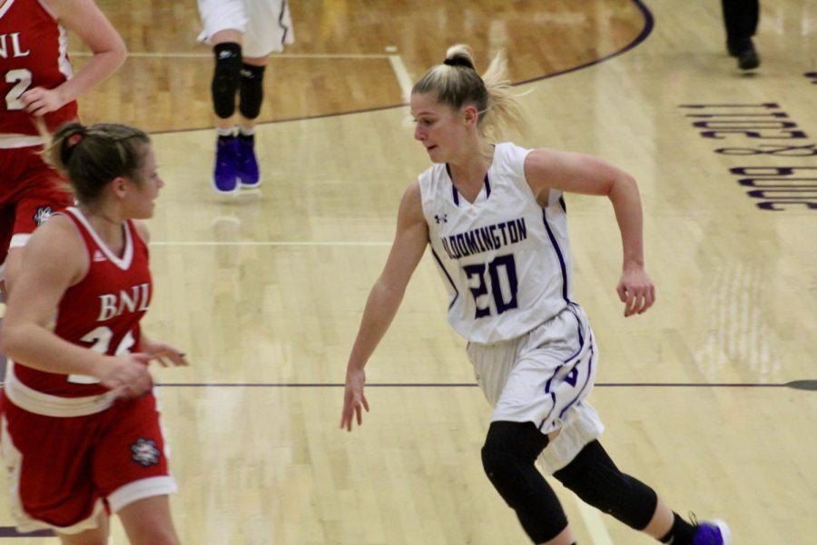 South junior Kristen Ridner (20) cuts toward the basket
