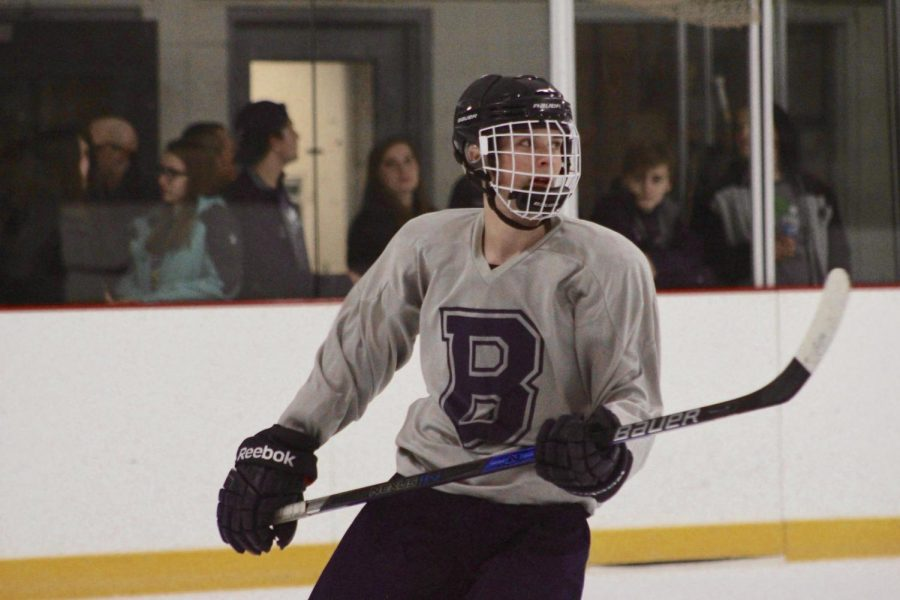 Junior Nick Stright looks to the stands after scoring a goal against Westerfield.