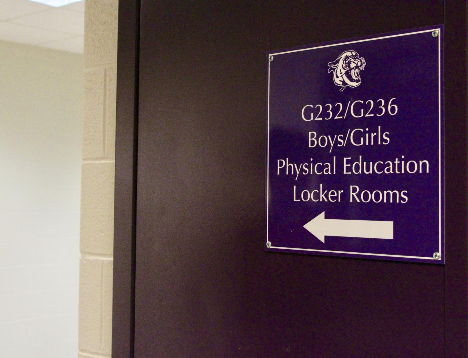 A sign for the Bloomington South locker rooms. This past month a North janitor was arrested for allegedly placing a phone in the girls locker room.
