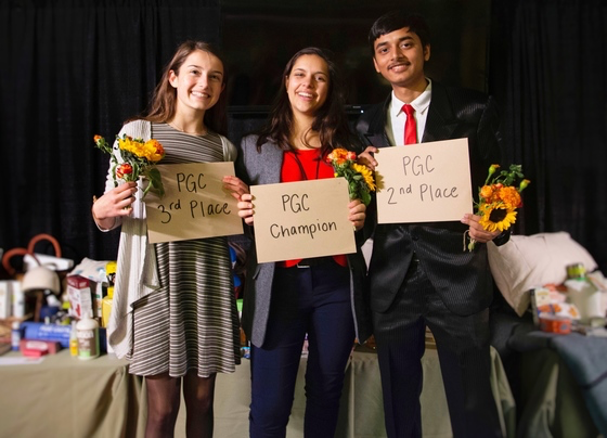 Left to right: Sophia Ludke (3rd place), Lara Breithaupt (1st place) and Aradhya Seth (2nd place). Photo courtesy of Turning Green.