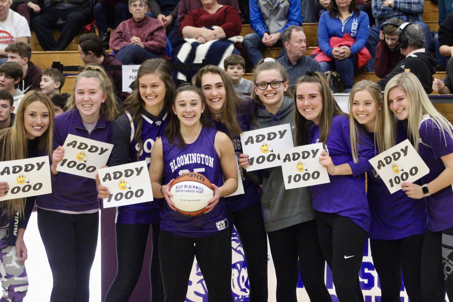 During halftime, senior girls basketball guard guard and USI commit Addy Blackwell was honored for scoring 1,000 points during her career at South