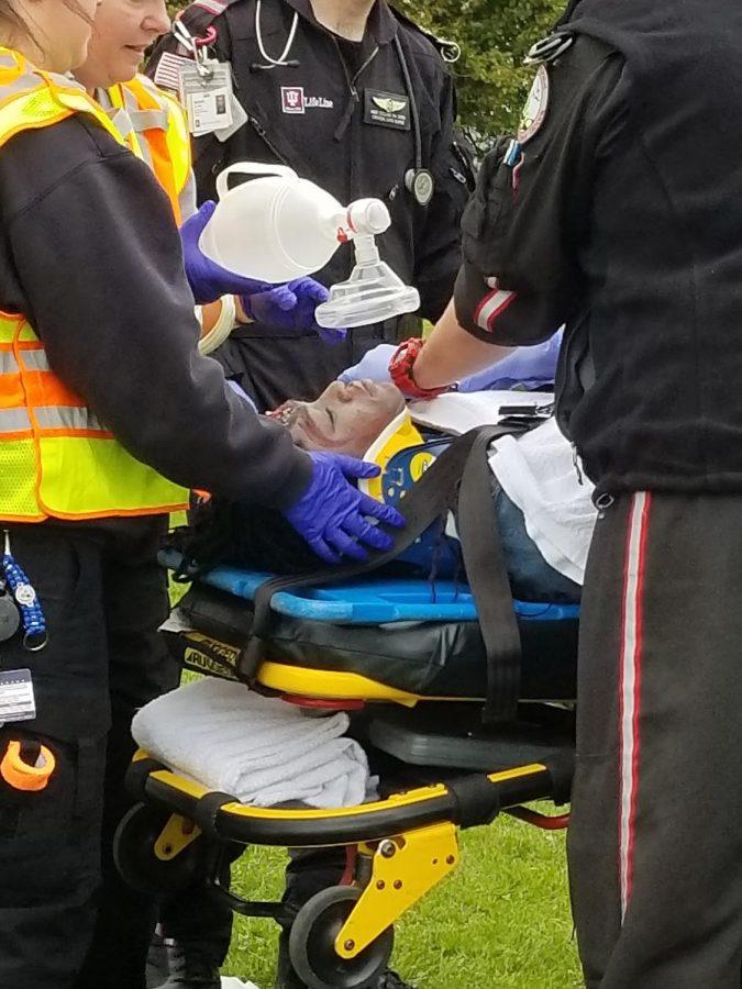Security guard Dave Pruitt tells moving story at mock crash