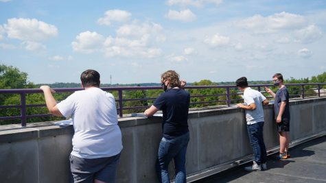Science classes engaged in a little cloud identification from the 3rd floor.
